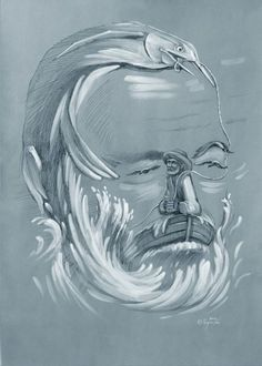 "35 Mind-Twisting Optical Illusion Paintings By Oleg Shuplyak - Ernest Hemingway ""The Old Man And Big Fish"" - Optical Illusion Paintings, Optical Illusions Pictures, Illusion Pictures, Illusion Kunst, Illusion Art, Oleg Shuplyak, Image Halloween, Street Art, Hidden Images"