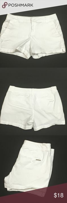 "New York & Co White cotton shorts, size 4 97% cotton 3% spandex white shorts. Belt loops, front side pockets, back welt pockets. Hidden button with loop and eye and zipper closure. 3.75"" inseam, 8.5"" rise, 15"" waist, 11.5"" total length. EUC New York & Company Shorts"