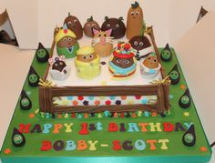 """Small Potatoes Cake - Birthday Cake for my Nephew who LOVES Small Potatoes.  8"""" Jam and Buttercream Victoria Sponge with all Sugarpaste coverings and decorations."""