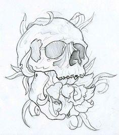 Skull and flower Tatto Skull, Skull Tattoo Flowers, Skull Rose Tattoos, Skull Tattoo Design, Tattoo Design Drawings, Tatoo Art, Tattoo Sketches, Flower Tattoos, Body Art Tattoos