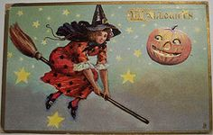 Vintage Halloween Cartolina Tuck 183 strega sulla scopa - vintage halloween collezione cose effimere della cartolina vacanza halloweencollection halloweenpostcard vintagehalloweenpostcard vintageholiday vintagepostcard tuck