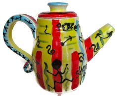Funky Teapot, Modern, Yellow, Red, Blue, Ceramic Stoneware, One of a Kind, Wedding Gift, Shower Gift, Housewarming Gift,Christmas Kitchen Gift #tea #pot