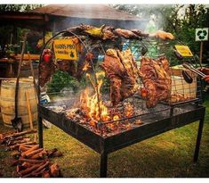No photo description available. Outdoor Oven, Outdoor Cooking, Cooking Over Fire, Fire Pit Bbq, Malbec, Bbq Kitchen, Grill Design, Outdoor Kitchen Design, Backyard Bbq