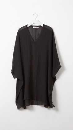 Organic by John Patrick Gauze Cocoon Beach Dress in Black | The Dreslyn