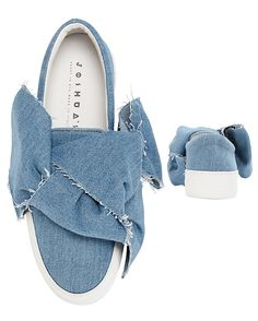 Joshua Sanders Bow Knot Detail Slip On Denim Sneakers | Shop IntermixOnline.com