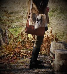 Sac à main  fourrure cuir recyclé-recycled fur and leather handbag handmade, femmes, women
