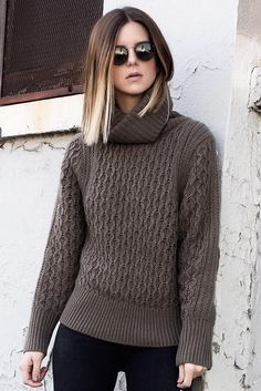 d767d71b84c Michelle Madsen keeps cozy in our brown honeycomb turtleneck sweater