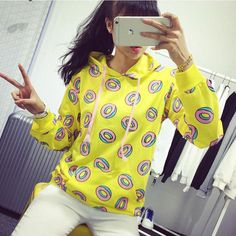 Harajuku new fashion 2015 fall men/women's casual tops hoodies graphic print donut hooded Odd Future sweatshirt autumn hoodies