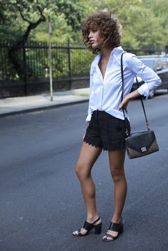 oxford shirt + lace shorts + chunky-heeled sandals