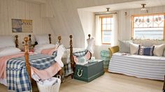 Cute Guest Room | A charming carriage house on Maine's rocky coast gets infused with holiday spirit—and classic coastal character. Step inside!