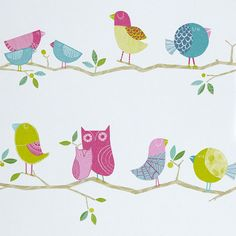 Harlequin What A Hoot 70515 (PR24014) Pink, Aqua, apple and Natural wallpaper from the What A Hoot collection, priced per roll. Features endearing owls along with their woodland companions