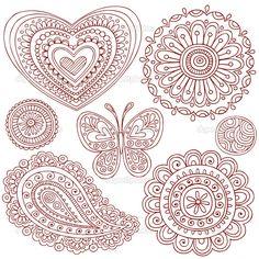 Simple Doodle Ideas   Hand-Drawn Henna Mehndi Paisley Tattoo Doodles- Heart, Flower Mandala ...