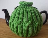 Green hand knitted tea cosy with wooden button detail - Size Medium - Ready to ship