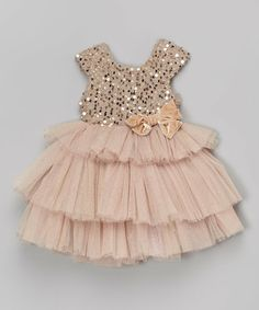 This Beige Sequin Tiered Dress - Infant is perfect! #zulilyfinds