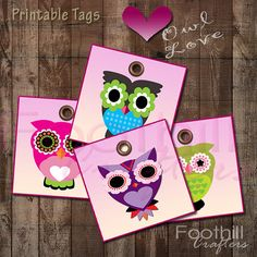 INSTANT DOWNLOAD   9 Love Owl Gift Tags  by FoothillCrafters, $3.29 #owls #gift_tags #diytags #valentinesday #love #printabletags #holidaytags #birthdaytags #foothillcrafters #etsy_shop #hoot #hearts #owl_love #gifts