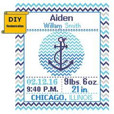 nautical birth announcement cross stitch patterns - Google Search