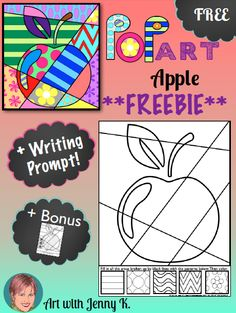 "This ""Pop Art"" apple is a great fall-themed interactive coloring sheet. As one commentor put it, ""This is way more than just coloring!"""