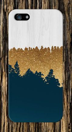 Geometric Gold Glitter Navy Blue White Wood Design Case