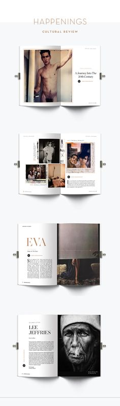 Magazine layout for Happenings, a bi-annual cultural review of art, photography, fashion and design. Layout design, creative direction and editorial design by www.helenastead.com