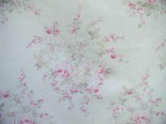 Rachel Ashwell Shabby Chic™ Roseblossom  Mint Batiste Faded Pink Cabbage Roses  #RachelAshwellShabbyChic