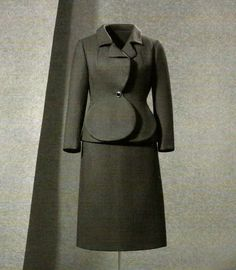 BALENCIAGA.- wool twill suit from 1967.