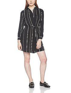 14, Black (Black Pattern), New Look Petite Women's Stripe Tie Sleeve Shirt Dress