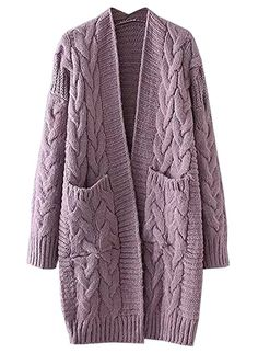 New futurino Women's Chunky Twist Knitted Open Front Patch Pocket Long Cardigan Oversized Coat online shopping - fashion womens clothing - Cardigans Oversized Mantel, Oversized Cardigan, Open Front Cardigan, Sweaters Outfits, Long Sweaters, Sweaters For Women, Chunky Cardigan, Cable Knit Cardigan, Sweater Cardigan