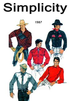 Simplicity 8473 vintage sewing pattern, dated circa Men's Fitted Shirt. All views have front band, forward shoulder seams, collar-on band, long sleeves w Mens Sewing Patterns, Kwik Sew Patterns, Vintage Patterns, Pattern Sewing, Shirt Patterns, Costume Patterns, Pattern Books, Cowboy Christmas, Barbie