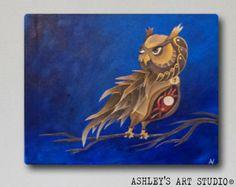 Steampunk Owl Painting  Original Acrylic by AshleysArtStudio