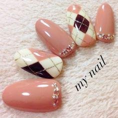 my_nailさんのピンク,ハンド,アーガイルネイル♪[766663]|ネイルブック