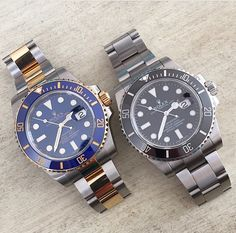 Rolex Submariner black SS and two toned blue-yellow gold.