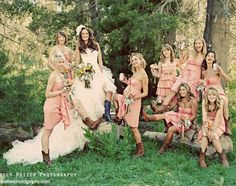 bouquet, accessories, bridesmaid, boots, cowboy boots, blush, bridal, bridesmaids, chic, coral, dress, dresses, girls, maids, party, peach, photography, pictures, pink, rustic, photo, wedding, woods