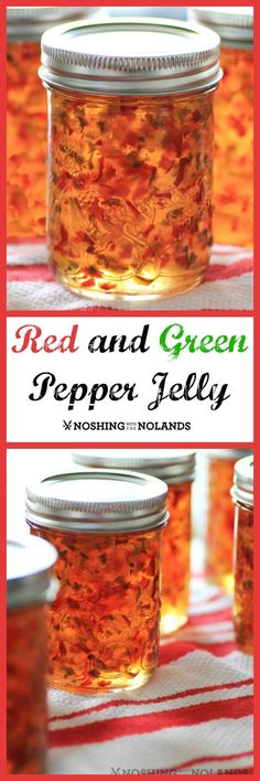 Red and Green Pepper Jelly Is this not one of your favorite appetizers? I just love Red and Green Pepper Jelly over cream cheese. Christmas is comin. Red and Green Pepper Jelly Jam Recipes, Canning Recipes, Recipies, Canning Tips, Green Pepper Jelly, Hot Pepper Relish, Jalapeno Pepper Jelly, Pepper Jelly Recipes, Gluten Free Vegan
