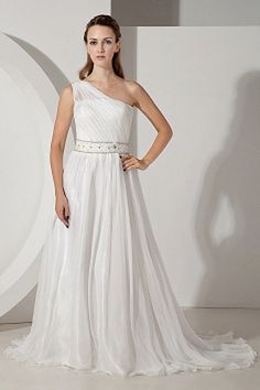 One A-line Natural Chiffon Shoulder Train White Court Elegant/Luxurious Floor-length Lace-up Ruched/Belt/Beading/Sequins/Crystals Sleeveless Wedding Dress Popular Wedding Dresses, Affordable Wedding Dresses, Bridal Wedding Dresses, Cheap Wedding Dress, Bridesmaid Dresses, Ivory Wedding, Bride Dresses, Green Wedding, Designer Wedding Gowns