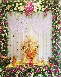 27 Best Trending Ganesh Chaturthi Decoration Ideas for home 2019 Gauri Decoration, Mandir Decoration, Ganapati Decoration, Housewarming Decorations, Diwali Decorations, Flower Decorations, Ceremony Decorations, Balloon Decorations, Flower Decoration For Ganpati