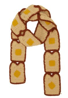 Handmade Crochet Buttered Toast Scarf...can i have this now? quite possibly one of the cutest things ive witnessed on the internet.