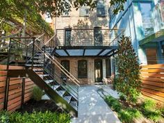 steel deck brownstone exterior/back Garfield Place, Brooklyn NY - Trulia Outdoor Spaces, Outdoor Living, Brooklyn Backyard, Townhouse Exterior, Pergola Cost, Steel Deck, Garden Levels, Balkon Design, Brooklyn Brownstone