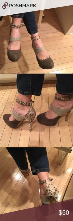 BEAUTIFUL, CLASSY ANKLE STRAP PLATFORM PUMPS BEAUTIFUL, CLASSY ANKLE STRAP PLATFORM PUMPS.  Combination of suede ( taupe), patent (beige) and snakeskin heel, back, and ankle strap.  2 inch front platform with a 5 1/4 inch heel. Size 6  Excellent condition, looks brand new. Envy Shoes Heels