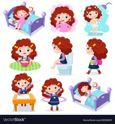 Illustration of daily routine activities for kids with cute girl stock vector - 96069153 Daily Routine Chart For Kids, Daily Routine Activities, Charts For Kids, Montessori Activities, Activities For Kids, Cute Girls, Little Girls, Lessons For Kids, Kids Education