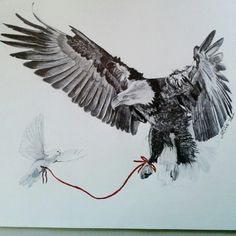 """#elisaporisinidrawings """"When we were in love I was an Eagle and you were a Dove"""""""