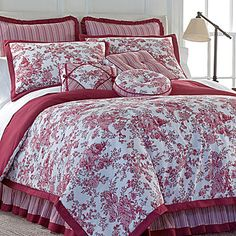 Toile Garden Comforter Set. Comes in red, blue, and black. I think blue is my favorite.
