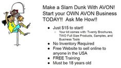Register to be an Avon Independent Sales Representative, and start selling immediately! To register online go to: startavon.com. Reference: lindabacho Visit my eStore at: www.youravon.com/lindabacho #avonrep