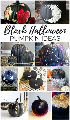 Black Halloween Pumpkin Ideas- Lots of no carve ideas. 16 Black Halloween Pumpkin Ideas to try this Halloween season. Black decoupage, floral, studded, glitter pumpkin tutorials and more! Halloween Decorations For Kids, Halloween Home Decor, Halloween House, Halloween Pumpkins, Fall Halloween, Halloween Crafts, Vintage Halloween, Halloween Party, Halloween Halloween