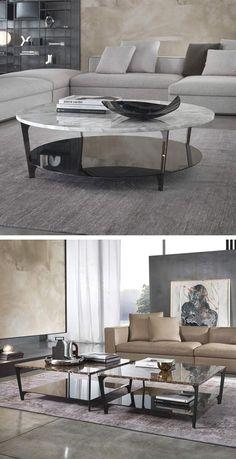 Elegant Ist Der Moderne Couchtisch Tab Von Marelli Mit Seiner Marmor Platte.  Rund Oder Quadratisch