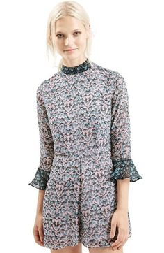 Topshop Floral Print Fluted Sleeve Romper available at #Nordstrom