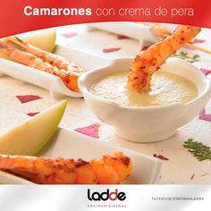 Camarones con crema de pera ;)  #Recetas