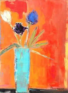 Stephen Dinsmore - Anderson O'Brien Fine Art/ Still Life, Turquoise Vase with Birds 2014  Oil on Canvas  18x24inches  $2,600