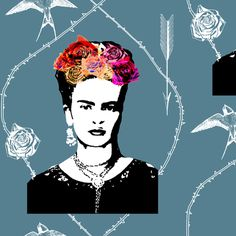 Ode to Frida Kahlo (in smoke) fabric by nouveau_bohemian on Spoonflower - custom fabric