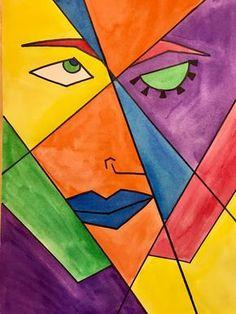 Kathys AngelNik Designs & Art Project Ideas: Picasso Portrait Inspired Art Less. - Kathy's AngelNik Designs & Art Project Ideas: Picasso Portrait Inspired Art Lesson Using Folded P - Art Picasso, Picasso Paintings, Picasso Kids, Cubist Portraits, Portrait Art, Kobra Street Art, Cubist Art, Art Club, Art Plastique