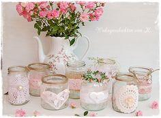 9 #Windlichter im Shabby- und Vintage-Look als #Hochzeitsdeko.  http://de.dawanda.com/product/85192035-8-windlichter-rosa-hochzeitsdeko-vintage-shabby